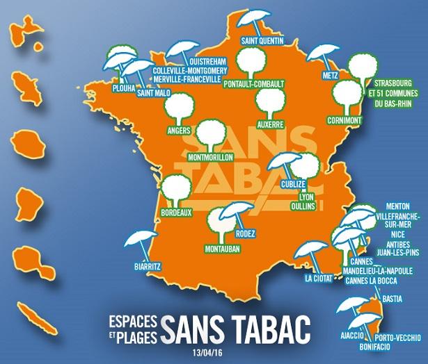 espaces et plages sans tabac en France. Protection environnement et éviter tabagisme passif