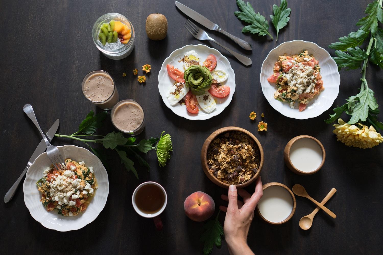 Un joli brunch entièrement fait maison, gourmand, sain et bio